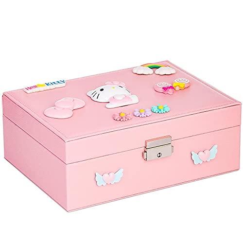 YTEU Hello Kitty Jewelry Storage Box Girls Double Hair Jewelry Storage Box Pink Princess Gift Jewelry Box Adorable Rainbow Bead Box Organizer