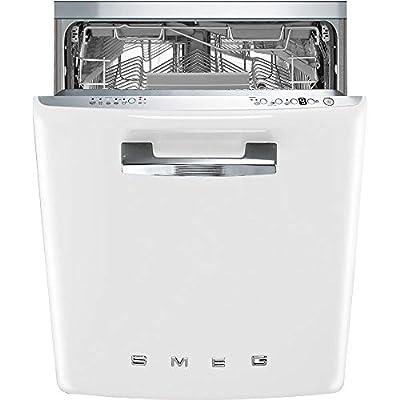 Smeg STFABU 50's Retro Style Aesthetic Full Size Dishwasher with 13 place settings, 10 Wash Cycles, White, 24-Inches