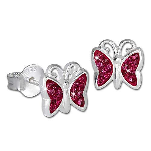 Sueño de plata Niños pendientes Mariposa Circonita Rosa 925er SDO094P