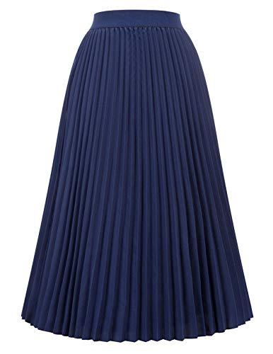 Kate Kasin Women's High Waisted Flared Elastic A-line Skirt Navy Blue Size L KK659-10