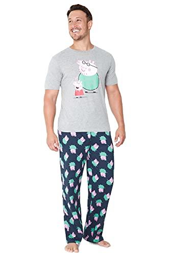Peppa Pig Pijama Hombre Verano, Pijama Camiseta Manga Corta y Pantalon Pijama Hombre Largo M - 3XL, Regalo Dia del Padre (Gris/Azul Marino, M)