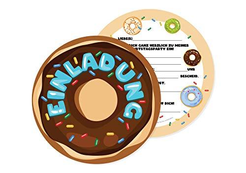 Friendly Fox Doughnut Einladung - 12 Einladungskarten in Donut Form für Kindergeburtstag Kinder Junge Mädchen - lustige Einladung - Donut Party