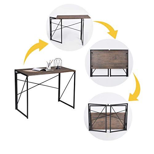 FurnitureR Sin Ensamblaje Mesa Plegable Auxiliar Escritorio Estilo Industrial Imitación Madera…