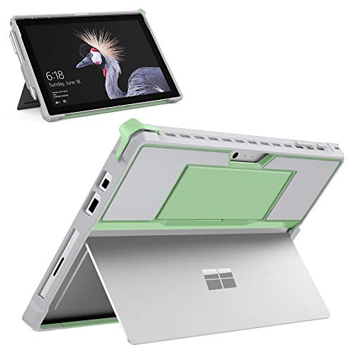 MoKo Case Fit Microsoft Surface Pro 7 Plus/Pro7/Pro 6/Pro 5/Pro 2017/Pro 4/Pro LTE, All-In-One Protective Rugged Cover Case with Pen Holder Hand Strap, Compatible with Type Cover Keyboard, Green+Gray