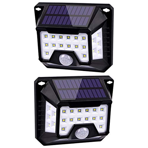 HIFAIRY 128 LED Potente lámpara solar para exteriores Impermeable IPX7 Sensible a la luz Gran angular 270 ° Detector de movimiento PIR Seguridad Inalámbrico Pared aplicada Patio Terraza Entrada