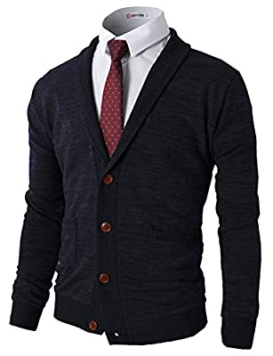 H2H Mens Slim Fit Hound Tooth Check Open Front Shawl Collar Stylish Wool Cardigan Navy US L/Asia XL (CMOCAL07) by