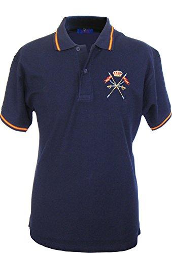 Pi2010 – Polo Caballería Española para Hombre, Color Marino, Bandera España en Cuello y Mangas, 100% algodón, Talla XL