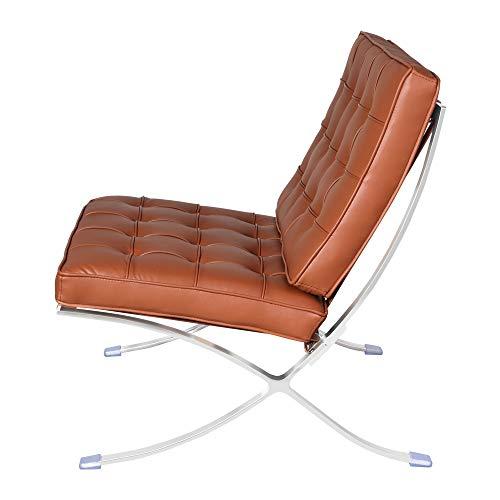 Klassischer Loungesessel aus echtem Leder, Faltbarer Loungesessel, Relaxsessel, Cocktailsessel Clubsessel mit Edelstahlrahmen für Schlafzimmer, Wohnzimmer, Lesezimmer