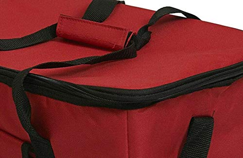 Garden Mile Red Extra Large 30 Litre 60 Can Insulated Cooler Cool Bag Collapsible Picnic Camping Festival Portable Travel Cooler Bag with Shoulder Strap