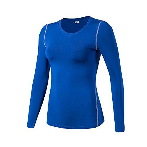 iEventStar Damen-Unterziehshirt, langärmelig, kühl, trocken, 1 Pack: blau, Größe M (UK/EU-Größe S))
