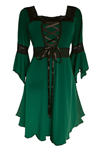 Dare to Wear Renaissance Corset Dress: Timeless Victorian Gothic Witchy Women's Plus Size Gown for Everyday Halloween Cosplay Festivals, Envy 1x
