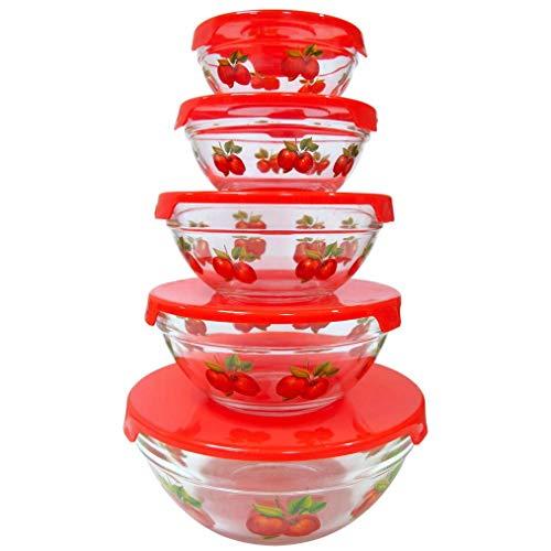 Imperial Home 10-teiliges Glas-Lunch-Schalen für gesunde Lebensmittel, stapelbar, Mikrowellen- und Spülmaschinenfest, Lebensmittel-Aufbewahrungsbehälter-Set, Apfel-Design (rot)