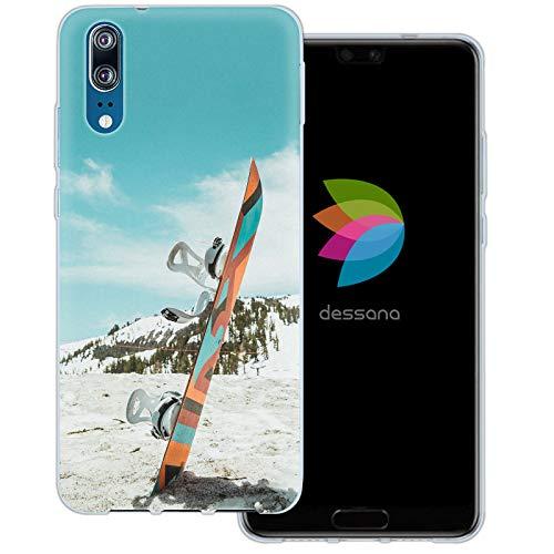dessana Winter Sport transparante beschermhoes mobiele telefoon case cover tas voor Huawei, Huawei P20, Snowboard.