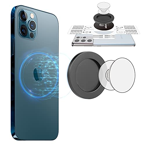Mriowiz Magnetic Phone Ring Holder Base Plate with Magnet Sticker Compatible with iPhone 8-12 Series Samsung LG Google, Intended for P-Socket Grip Mag Safe Accessories Removable for Wireless Charging