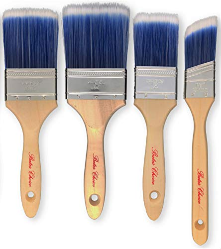 Bates Paint Brushes - 4 Pieces (3, 2.5, 2, and 1.5 Angled), Wood Handle, Paint Brushes for Walls, Professional Wall Brush Set, House Paint Brush, Trim Paint Brush, Sash Paint Brush