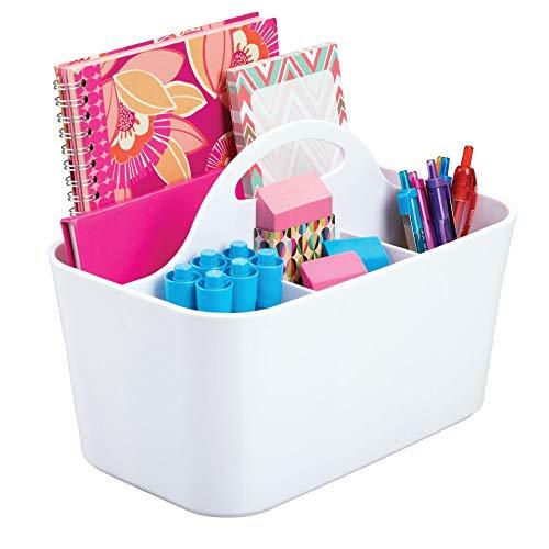 mDesign Organizzatore scrivania – Portapenne da scrivania per la cameretta e l'ufficio - Piccolo portaoggetti per gomme, graffette, penne, ecc. – bianco