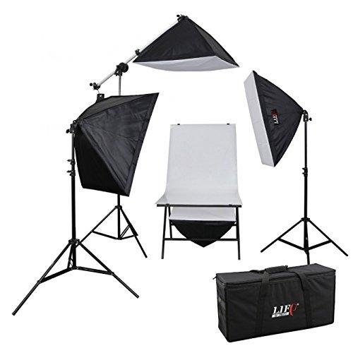 Life of Photo Aufnahmetisch-Set AT-5070-4, 4x150 W mit Studiotasche Fotolampen für Produktfotografie Foto Fotostudio