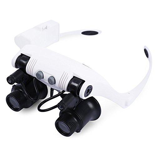 Perfectii Lupenbrille mit 2 LED Licht, 10x 15x 20x 25x Handfrei Kopfband Lupe Brillenlupe Lampe Verstellbare für Reparatur, Hobby, Elektriker, Juweliere, Nähen, Handwerk