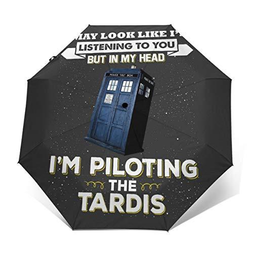 I May Look Like The Tardis Doctor Who Winddichter kompakter Automatischer Faltschirm Automatisch faltbar Reise-Sonnenschirm