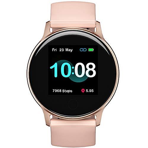 """Smart Watch UMIDIGI Uwatch 2S Fitness Tracker, Monitor de frequência cardíaca, com tela de toque de 1,3"""", 5ATM, Pedômetro, à prova d'água, Monitor de sono, para iPhone e Android (Rosa Ouro)"""