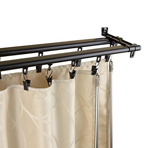 InStyleDesign Regal Black Adjustable Double Curtain Rod Track 66 to 120 inch