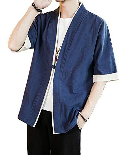Aden Herren Sommerjacke Japan Happi Kimono Haori Jacke Kurzarm Übergangsjacke Hanfu Mäntel