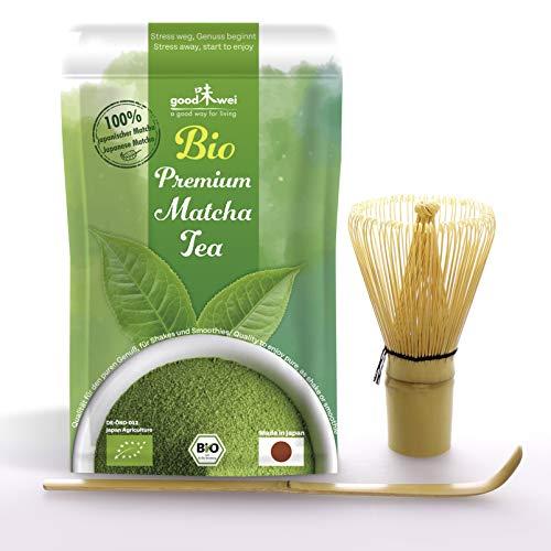 Bio Matcha Einsteiger Set: 30g Original Japan Bio Matcha + Bambusbesen und Bambuslöffel