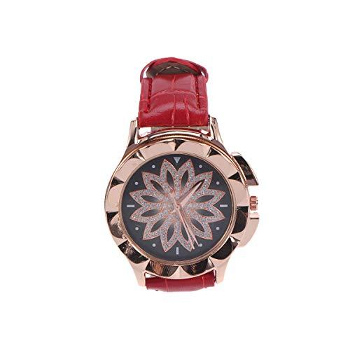 ibasenice Reloj de Pulsera para Mujer, Las Mujeres de Moda Rhinestone Reloj Elegante aleación de Cuarzo Reloj Lucky Symbol Hermoso Reloj de joyería para Damas (Rojo)