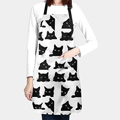 N/W Black Cats Kitchen Aprons for Women Men Plus Size with 2 Pockets Waterproof Adjustable Neck Strap for Thanksgiving,Christmas,Cooking,Baking & Painting