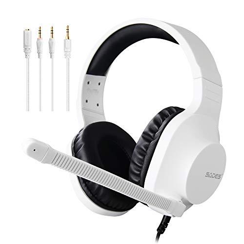 SADES Spirits Over-Ear-Stereo-Headset mit Mikrofon und Lautstärkeregelung, Y-Adapter, Bequeme Ohrmuscheln, für PC, Laptop, Mac, PS4, Nintendo Switch, Weiß