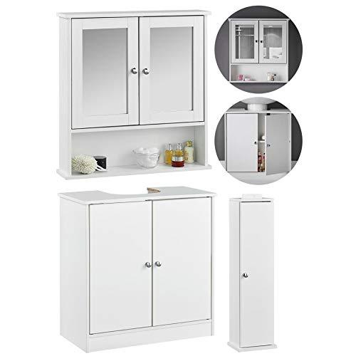 Gatsby - Witte badkamermeubel met spiegel, onder wastafel en opbergmeubel, 3-delig