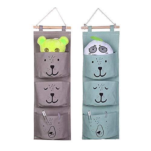 YZNlife - Organizador de pared para colgar en la pared, 2 unidades, con 3 bolsillos colgantes, organizador de puerta, organizador de pared para habitación de los niños, baño, dormitorio (verde + gris)