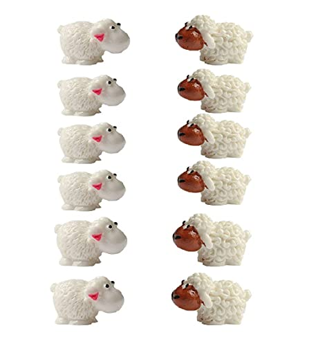 Ximimark 12 Pcs(6Male Sheep+ 6Mother Sheep) Mini Sheep Figurines Miniatures Home Decor DIY Animals Micro Fairy Garden