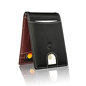 monsoon [SAFARI] Genuine Leather Mens Wallet Slim with Money Clip Minimalist Wallets RFID Blocking