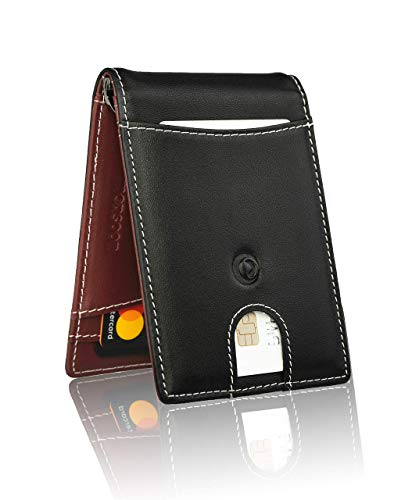 monsoon [SAFARI] Genuine Leather Mens Wallet Slim with Money Clip Minimalist Wallets RFID Blocking