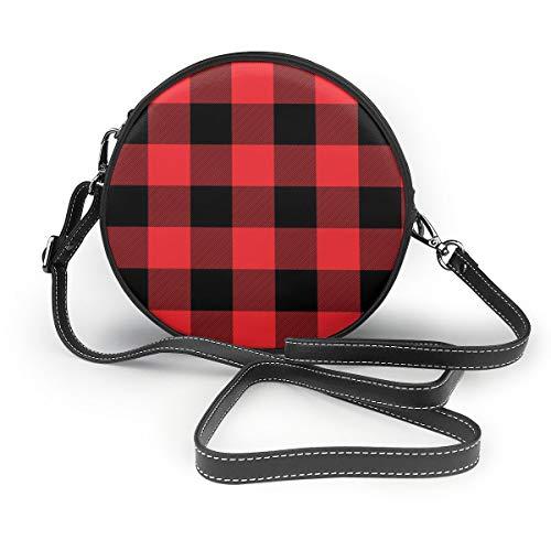 Ameok-Design Rot kariert Geschenkpapier Schultertasche Umhängetasche Umhängetasche Multifunktions PU Leder für Einkaufen Reisen rund