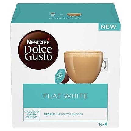 Nescafé - Dolce Gusto - Blanco plano - 3 paquetes - 16 cápsulas por paquete - 48 cápsulas individuales - Granos de café Robusta puro - Leche cremosa suave - Con caramelo y cereales tostados