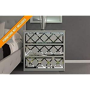 Almada Lattice Laubsägearbeiten | Geeignet für IKEA Malm | Farbe: Weißes PVC/Repaintable, goldener Spiegel, silberner…
