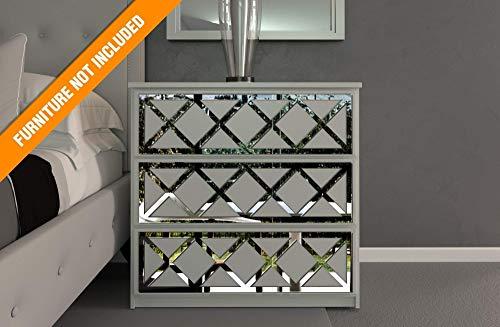 Almada Lattice Laubsägearbeiten | Geeignet für IKEA Malm | Farbe: Weißes PVC/Repaintable, goldener Spiegel, silberner Spiegel oder gebürstetes Silber