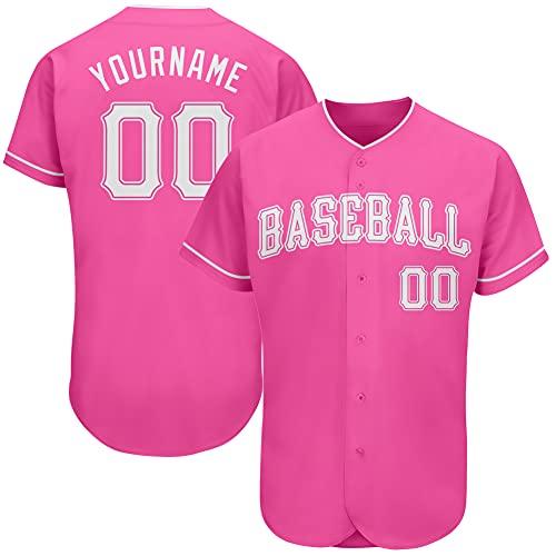 Custom Novelty Wedding Button-Down Baseball Jerseys Personalized Printed Baseball Shirt for Men/Women/Boy Pink and White