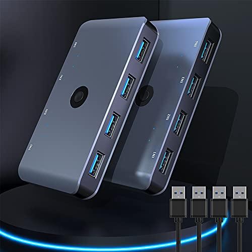 USB3.0 Switch Wahlschalter, 4 Computer die sich 4 USB-Geräte teilen USB 3.0 Peripherie-Umschalter box 4 in 4 Out für Drucker,Maus,Scanner mit One-Button-Swapping und 4-Pack-Stecker-Kabel