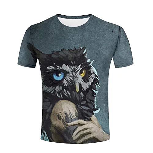 Tシャツ メンズ 半袖 夜の狩人 ふくろう 3D プリント tシャツ おもしろ おしゃれ クルーネック 春夏服 XXXL
