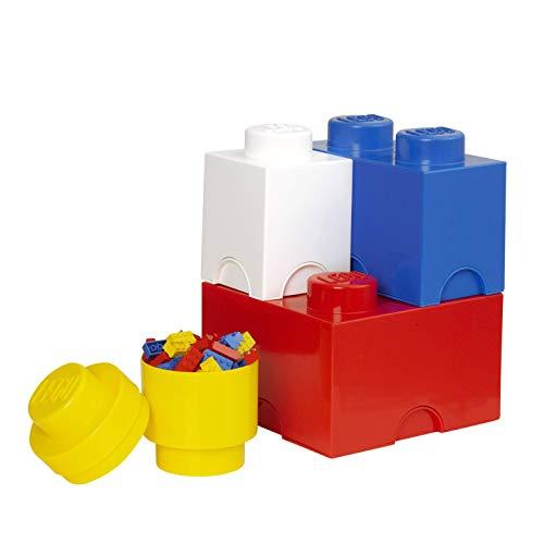 Room Copenhagen 40150001 Multipack de Ladrillos de Almacenamiento de Lego, Largo. Cajas de almacenaje apilables. Conjunto de 4 Piezas, Multicolor, One Size