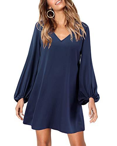 SOLERSUN Long Sleeve Shift Dresses for Women, Women's Casual Chiffon Flared Sleeve V Neck Loose Swing Pullover Party Mini Tunic T Shirt Dress Dark Blue L