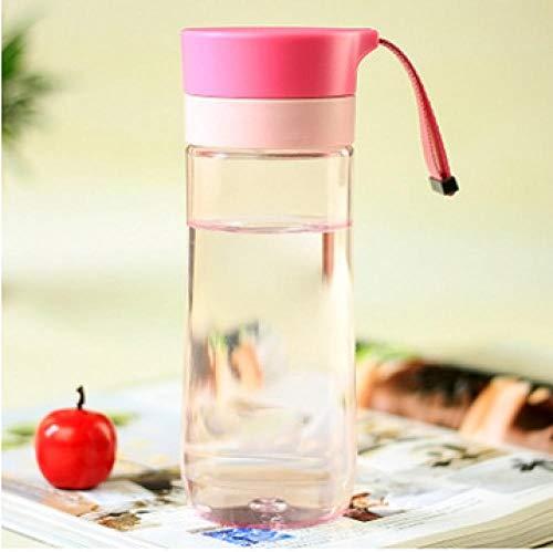 Jusemao Botella de agua deportiva portátil a prueba de caídas simple 400ml-Pink_500ml
