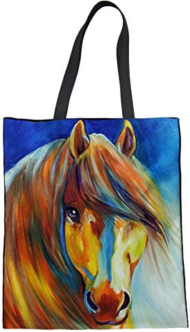 UNICEU Women s Canvas Tote Bag Reusable Oil Painting Horse Grocery Shoulder Bags Shopping Travel product image