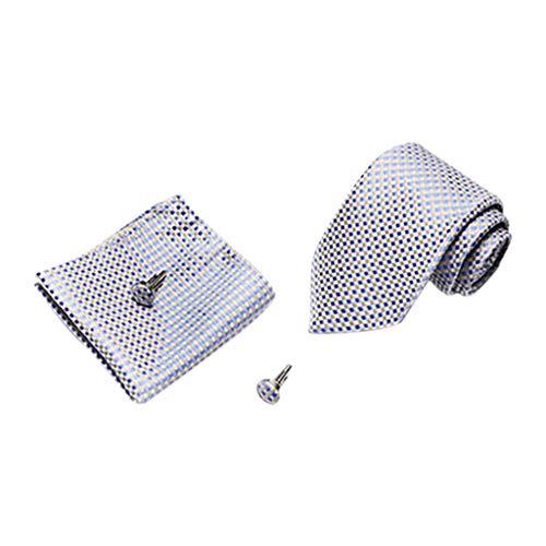 Tefamore Corbata Estampada para Hombre con Raya Cuadros Punto Juego de Corbata y pañuelo Corbata Lisa Corbata de Informal con Gemelos Clip de Corbata