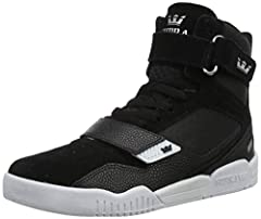 A basketball-inspired skate high top Lightweight SUPRAFOAM midsole for all day comfort Dual traction rubber outsole Dramatic material overlays and tall tongue Ankle and forefoot strap to stay locked in while active