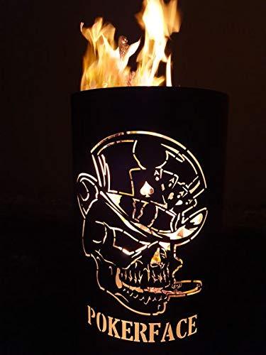 Tiko-Metalldesign Feuertonne/Feuerkorb mit Motiv Pokerface