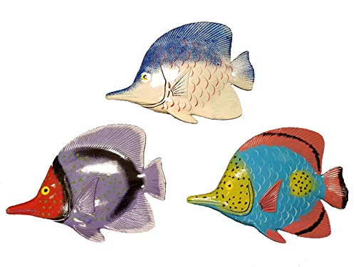 "All Seas Imports Set of Three Large 10"" x 7.5"" ACRYIC Resin Decorative Indoor/Outdoor Tropical Fish Wall Decor"